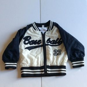 Baseball Zip Up Lined Blue and White Jacket